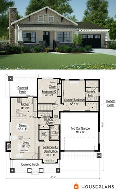 Architectural plans for a small craftsman bungalow 1200sft houseplans plan #444-36