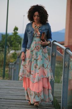 "Floral Spaghetti Strap Chiffon Dress paired with a Denim Jean Jacket, Wedge Sandals #curvy #thick ""if you follow my Curvy Girl's Spring/Summer Closet, make sure to follow my Curvy Girl's Fall/Winter Closet."" http://pinterest.com/blessedmommyd/curvy-girls-fallwinter-closet/"