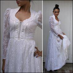White Lace Gunne Sax Maxi Dress. Love the collar
