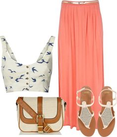 A fashion look from May 2012 featuring crop tops, maxi skirts and flat sandals. Browse and shop related looks. Passion For Fashion, Love Fashion, Fashion Beauty, Winter Fashion, Fashion Outfits, Womens Fashion, Cute Summer Outfits, Cool Outfits, Hot Day Outfit