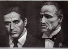 My pencil drawing of Al Pacino and Marlon Brando from the godfather