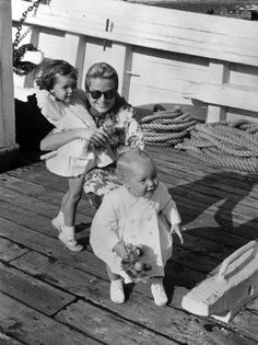 Princess Grace with little Princess Caroline and little Prince Albert in Monaco As, Monaco Royal Family, Prince Rainier, Princesa Grace Kelly, Camille Gottlieb, Grace Kelly Style, Patricia Kelly, Princesa Carolina, Princess Caroline Of Monaco