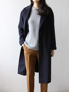 navy coat, grey sweater, camel pants