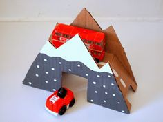 cardboard bridge for trains and cars