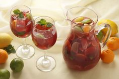 Scrumptious Sangria With Strawberries, Lime and Mint