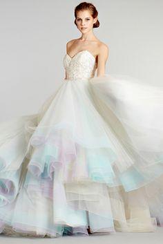 lazaro wedding dress - cute with matching bridesmaids dresses