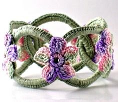 Crochet Bracelet Fiber Bracelet  Chainmail Bangle Sage with Pink Purple Sage Flowers (25.00 USD) by Nothingbutstring