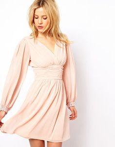 ASOS Blouson Sleeve Wrap Dress With Embellished Cuff on shopstyle.com