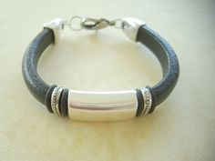 Men's Black Licorice Leather Bracelet: Free by SonseraeDesigns