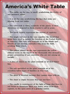"Veterans Day ""White Table"" display description sign. enlarge picture to read."