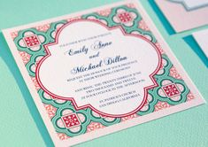 Printable Spanish Square Tiles Wedding Invitation. $50.00, via Etsy.
