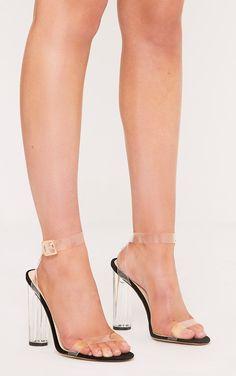 Mercia Black Clear Strap Heels