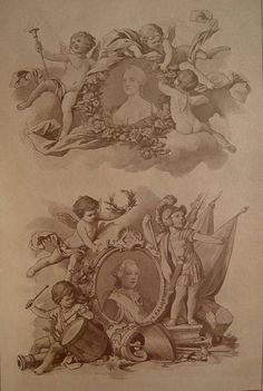 Cherubs & Putti Sepia Ornamentation 1890 - Artifax antiques & design