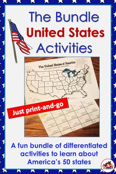 The Bundle-America's 50 Great States Hands On Learning, Kids Learning, Creative Teaching, Teaching Ideas, 50 States Of Usa, File Folder Games, Differentiation, Social Studies, Geography