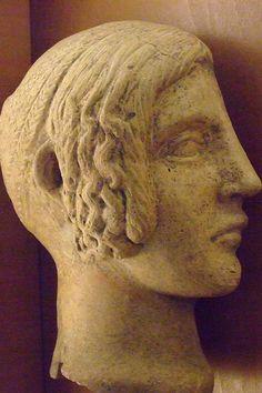 Etruscan terracotta female head  C.300BCE Louvre