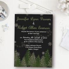 snow pine tree winter wedding invitations EWI362 as low as $0.94