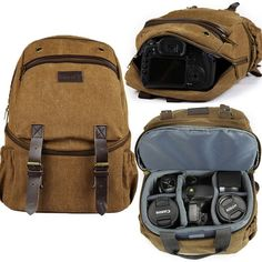 NEW Profession Deluxe Digital DSLR Camera Bag Vintage Backpack Rucksack Packsack in Cameras & Photo, Camera & Photo Accessories, Cases, Bags & Covers | eBay