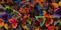 Echarpe – Foulard d'art en soie «Papillon» signé Larrieu