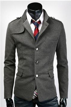 Slim Stand Collar Mens Single Breasted Suit,Hot Sale Jacket,Gray,ASIAN:M-XXL