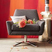 Lucas Swivel Base Chair - Asphalt (Tweed)