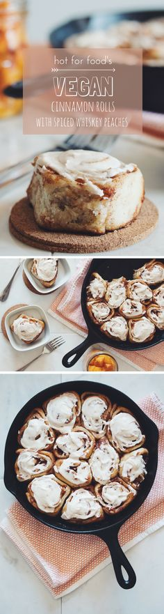 vegan cinnamon rolls with spiced whiskey peaches and vanilla frosting. Not super healthy but definitely super yummy and great for your vegan/ vegetarian breakfast guests. Healthy Vegan Dessert, Coconut Dessert, Vegan Dessert Recipes, Vegan Treats, Vegan Foods, Vegan Dishes, Healthy Vegan Recipes, Breakfast Recipes, Vegan Baking Recipes