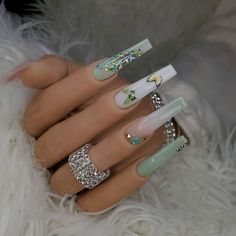 Bling Acrylic Nails, Acrylic Nails Coffin Short, Simple Acrylic Nails, Summer Acrylic Nails, Best Acrylic Nails, Bling Nails, Swag Nails, Coffin Nails, Turquoise Acrylic Nails