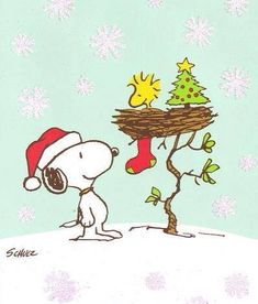 Snoopy and Woodstock at Christmas