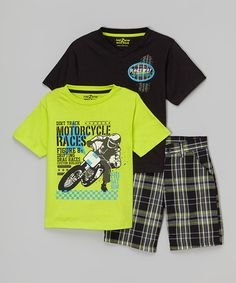 Look at this #zulilyfind! Black & Lime V-Neck Tee Set - Infant, Toddler & Boys #zulilyfinds