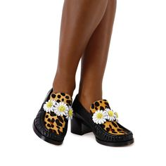 Iconic Daisy Loafer Black & Leopard   Sophia Webster Leopard Print Hair, Sophia Webster, Moccasins, Calves, Daisy, Take That, Gucci, Loafers, Footwear