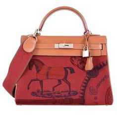 Limited Hermes Kelly 32cm Amazon Barenia Toile Rouge H Horse Print JaneFinds