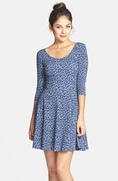 Lush Floral Print Knit Skater Dress (Juniors) available at #Nordstrom