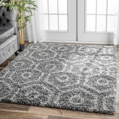 nuLOOM Soft and Plush Keyhole Trellis Shag Dark Grey Rug (5'3 x 7'6) - 17681900 - Overstock.com Shopping - Great Deals on Nuloom 5x8 - 6x9 Rugs