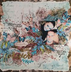 Hi My Crafty Friends, Today I am going to show you my brand new mixed media layout. I do not like using vivid embellishments and the sha. Wedding Scrapbook, My Scrapbook, Scrapbook Layouts, Mixed Media Scrapbooking, Paper Crafts, Diy Crafts, Layout Inspiration, Scrapbooks, This Is Us