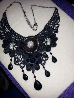 Gothic lace ,fur and bead neclace
