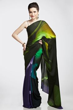 Indigo digital print saree | Satya Paul. Love this!
