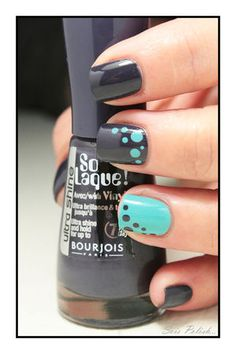 Bleu Asphalte - Bourjois + Where's my Chauffeur ? - Essie // Dots nails Plus Diy Nail Designs, Acrylic Nail Designs, Essie, Hair And Nails, My Nails, Nagel Stamping, Dot Nail Art, Classic Nails, Trendy Nail Art