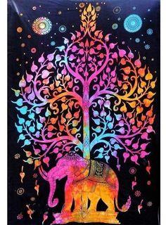 Tie dye tapestry college dorm tapestry Elephant Tapestry Tree Of Life Tapestry-Jaipur Handloom