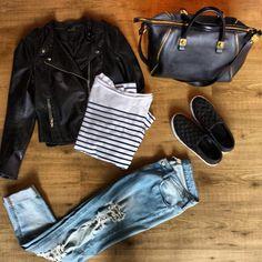 Boyfriend jeans , biker jacket , slip ons , stripes top
