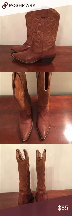"""ALDO Froambe Women's Leather Cowboy Boots 8.5 Truly beautiful and super comfy. These Aldo Cowboy boots are made for walking but they can also be used for dancing or simply to add a western touch to your outfits. Cuban heel, pointy toe, leather, 2"""" heel. Boots were worn once. In excellent condition. Please message me so I may assist prior to purchase. If you have any issues or concerns, I will address those with utmost care and attention. I will disclose all available info to the best of my…"""