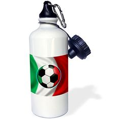 3dRose wb_155053_1 Italy soccer ball concept Italian flag banner waving national country Sports Water Bottle 21 oz White >>> To view further for this item, visit the image link.