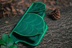 Dark Green Leaf Fanny Pack Hip Bag Waist Bag by LeaflingBags