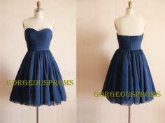 Short Navy Blue Tulle Prom Dress Custom Dress Sweetheart Knee-length Formal Dress Homecoming Dress Party Dress 2014