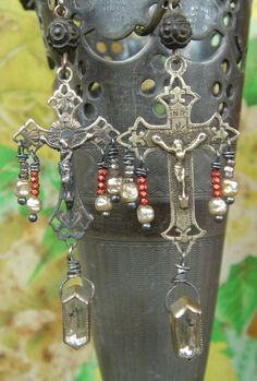 Haven Antique French Crucifix Religious Assemblage Earrings,One of a Kind