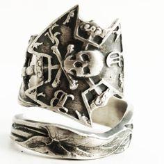 IOOF Ring, Odd Fellows, Sterling Silver Spoon Ring, Calla Lily, Skull and Crossbones, Skull and Bones, Mens Masonic Ring, Adjustable (6640) by Spoonier on Etsy