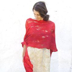 Bufanda chal rojo fuego lana lujo cabo boda de Dama de por Baymut