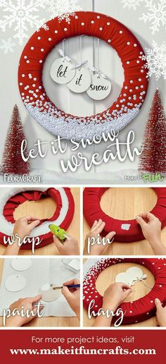 Christmas DIY: Spread some holiday Spread some holiday cheer with a stylish wreath! Use sequins to create a shimmering snowfall effect on this eye-catching DIY door decor. Create your own snap a picture and share using Christmas Projects, Holiday Crafts, Holiday Ideas, Christmas Crafts To Make And Sell, Spring Crafts, Holiday Wreaths, Christmas Decorations, Winter Wreaths, Christmas Wreaths To Make