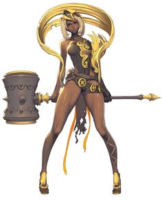 Blade and soul female design. Tan-skinned weapons warrior with hammer, gold loops on heels and metal.
