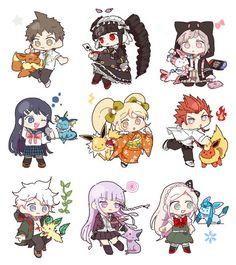 Danganronpa x Pokemon Danganronpa Funny, Super Danganronpa, Danganronpa Characters, Pokemon Crossover, Fandom Crossover, Pink Blood, Danganronpa Trigger Happy Havoc, Familia Anime, Girls Anime