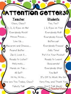 Getters Attention getters for teachers are great for classroom management, especially during back to school season!Attention getters for teachers are great for classroom management, especially during back to school season! Classroom Discipline, Classroom Behavior Management, Behavior Plans, Behavior Charts, Student Teaching, Teaching Tips, Whole Brain Teaching, Beginning Of School, Middle School