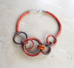 Random Circles Necklace Coral by fiber2love on Etsy